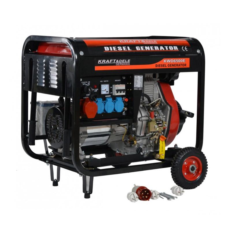 Φορητή Τριφασική Ηλεκτρογεννήτρια Πετρελαίου 6500 W 12/230 /380 V Kraft&Dele KD-120 - KD-120