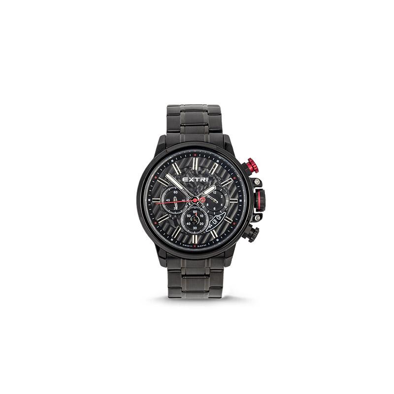 Ανδρικό Ρολόι Χρώματος Μαύρο με Μεταλλικό Μπρασελέ Extri X6011C 8719325422566 - 8719325422566