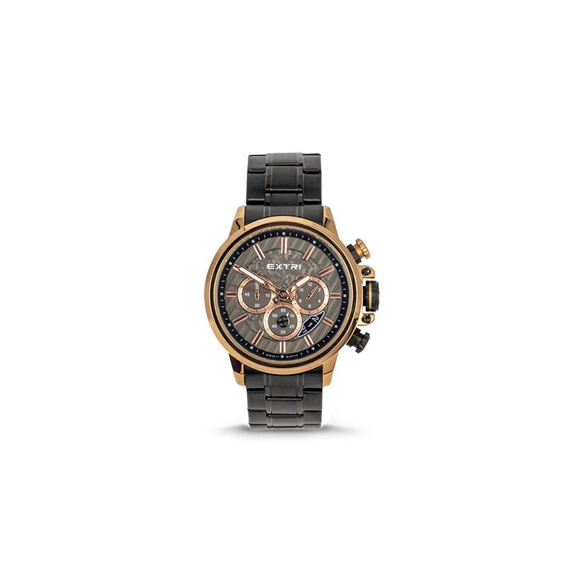 Ανδρικό Ρολόι Χρώματος Μαύρο με Μεταλλικό Μπρασελέ Extri X6011D 8719325422573 - 8719325422573