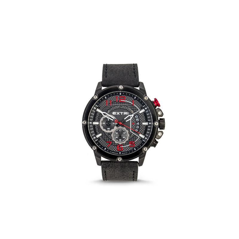Ανδρικό Ρολόι με Μαύρο Σουέτ Δερμάτινο Λουράκι Extri X6020C 8719325422610 - 8719325422610