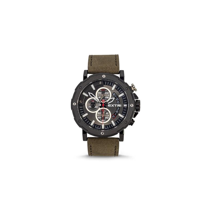 Ανδρικό Ρολόι με Χακί Σουέτ Δερμάτινο Λουράκι Extri X6029C 8719325422474 - 8719325422474