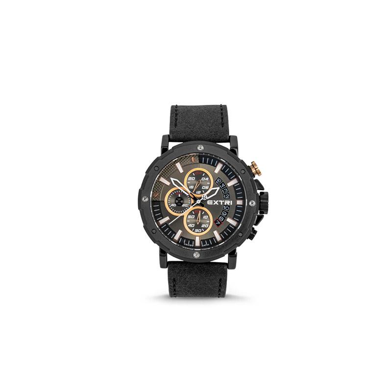 Ανδρικό Ρολόι με Μαύρο Σουέτ Δερμάτινο Λουράκι Extri X6029D 8719325422481 - 8719325422481