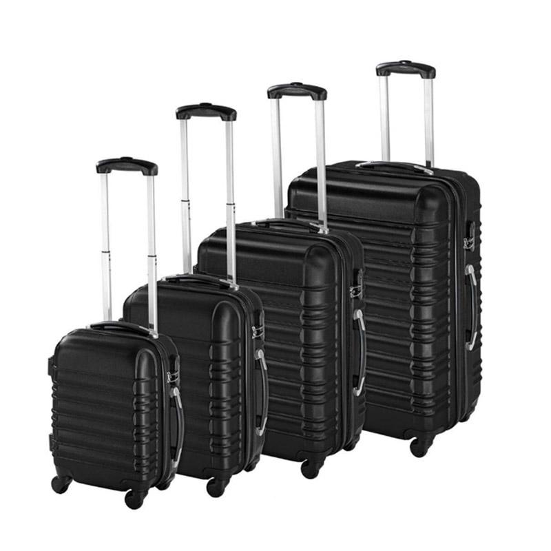 Σετ 4 Βαλίτσες Καμπίνας με 4 Ρόδες Σκληρές από ABS Χρώματος Μαύρο Hoppline HOP1000938-1 - HOP1000938-1