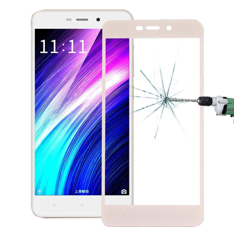 Full Cover Tempered Glass Τζαμάκι Γυαλί Προστασίας Xiaomi Redmi 4a Gold