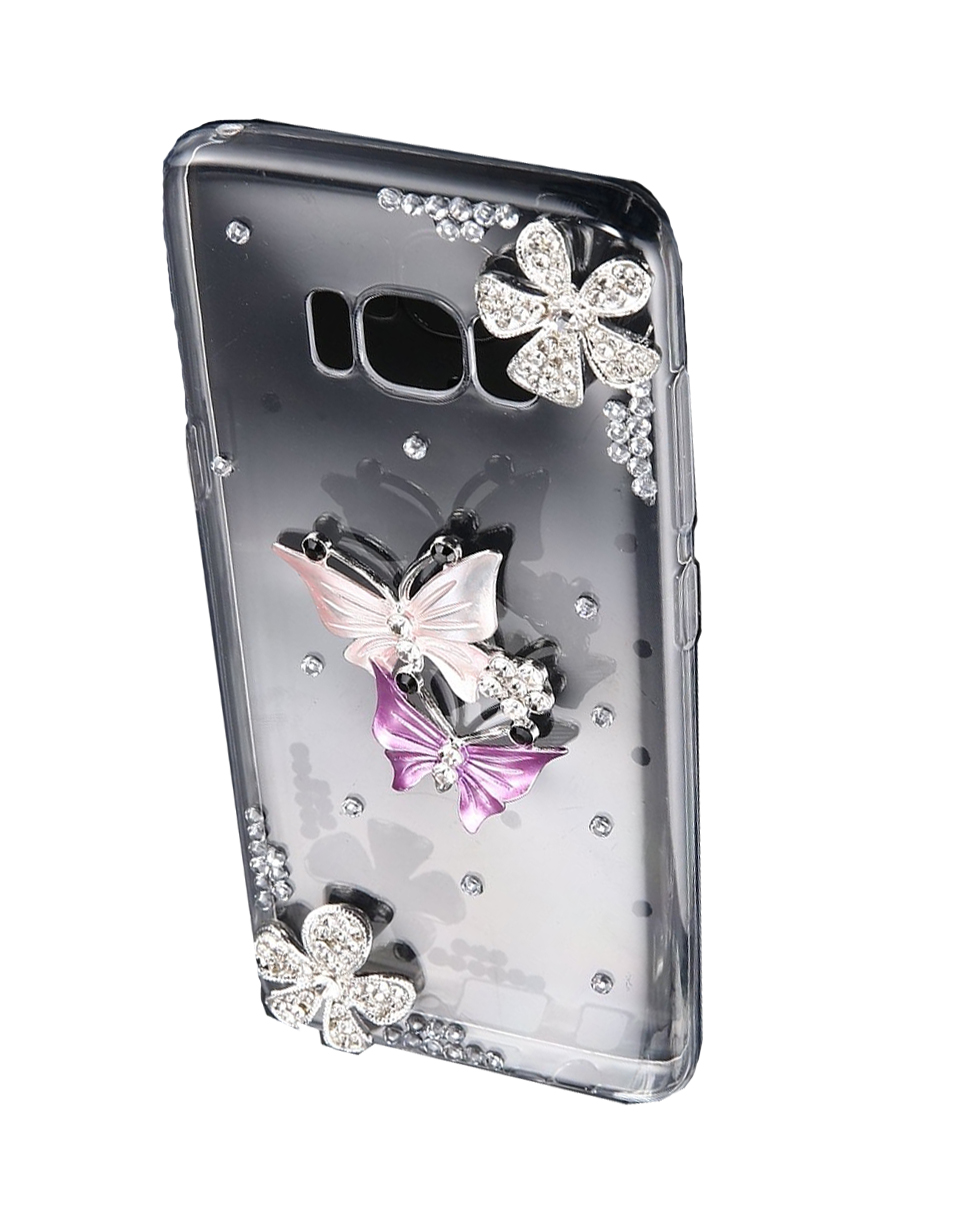 Θήκη Samsung Galaxy S8 Plus G955 Diamond Encrusted Flower Purple Butterfly Pattern TPU Σιλικόνης 0.3mm Διάφανη