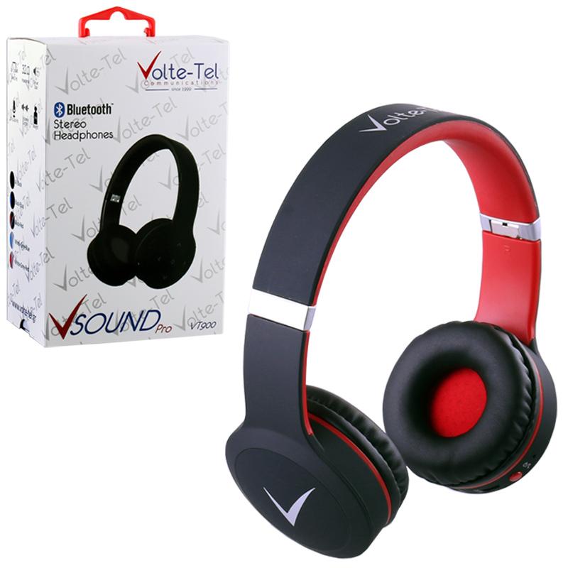 STEREO BLUETOOTH HEADPHONES V SOUND PRO VT900 BLACK-RED VOLTETEL