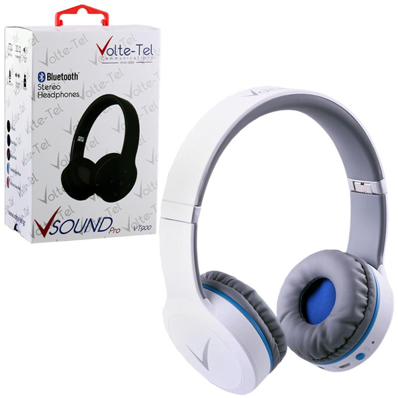 STEREO BLUETOOTH HEADPHONES V SOUND PRO VT900 WHITE-GREY-BLUE VO