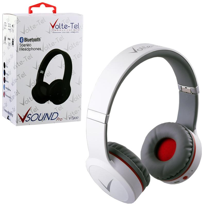 STEREO BLUETOOTH HEADPHONES V SOUND PRO VT900 WHITE-GREY-RED VOL