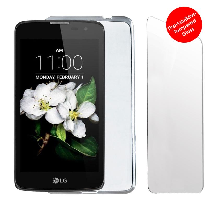"VOLTE-TEL COMBO LG K7 X210 5.0"" TEMPERED 0.30 + ΘΗΚΗ SLIMCOLOR WHITE"