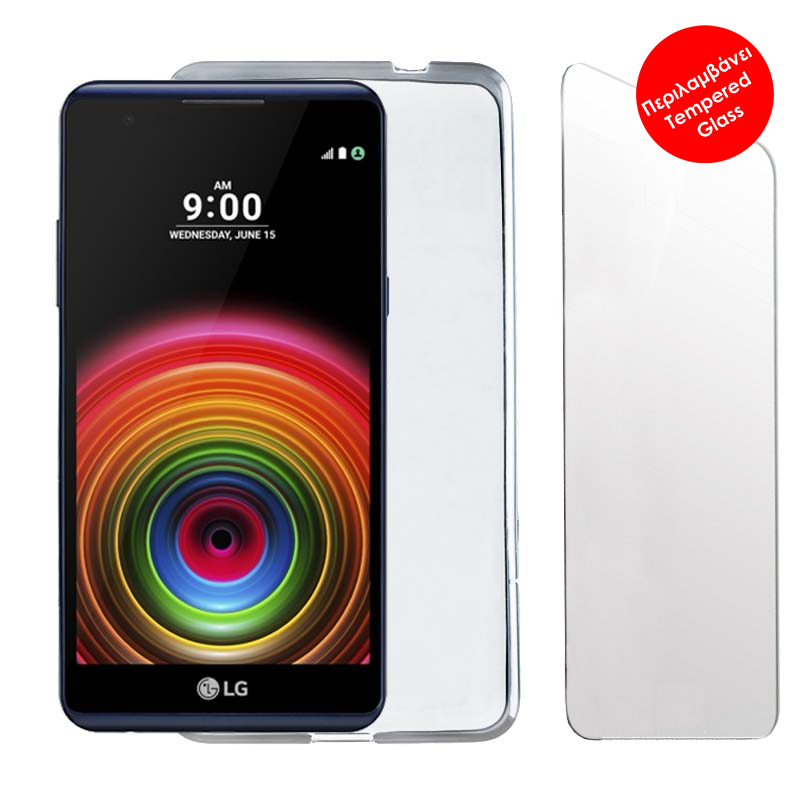 """VOLTE-TEL COMBO LG X POWER K220 5.3"""" TEMPERED 0.30 + ΘΗΚΗ SLIMCOLOR WHITE"""