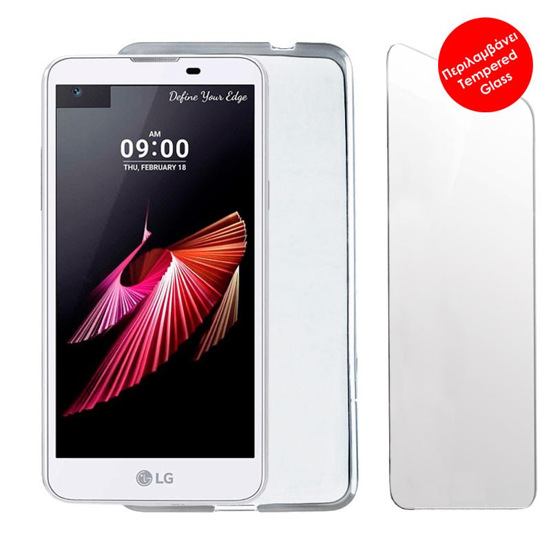 "VOLTE-TEL COMBO LG X SCREEN K500 4.93"" TEMPERED 0.30 + ΘΗΚΗ SLIMCOLOR WHITE"