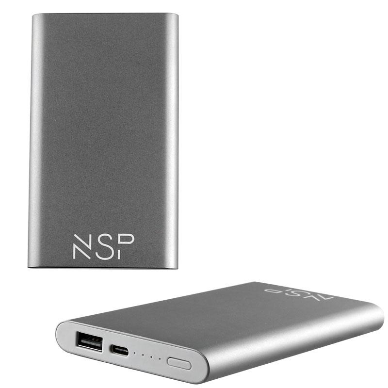 NSP-122C POWER BANK SLIM 12000mAh 2.4A TYPE C METAL BLACK