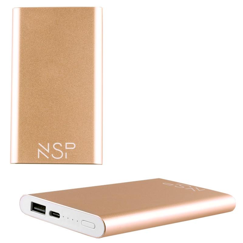 NSP-122C POWER BANK SLIM 12000mAh 2.4A TYPE C METAL GOLD