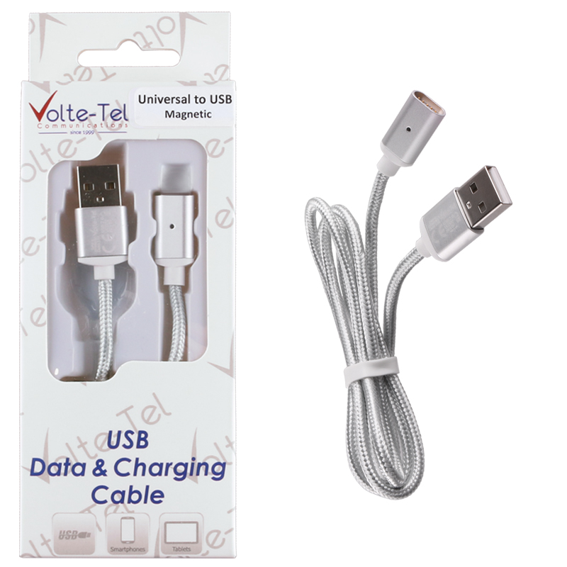 VOLTE-TEL USB ΦΟΡΤΙΣΗΣ-DATA MAGNETIC BRAIDED VCD07 2.1A 1m SILVER