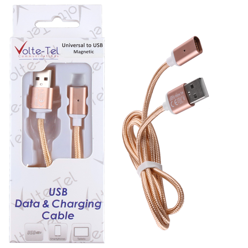 VOLTE-TEL USB ΦΟΡΤΙΣΗΣ-DATA MAGNETIC BRAIDED VCD07 2.1A 1m GOLD