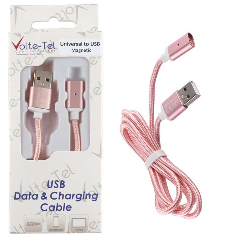 VOLTE-TEL USB ΦΟΡΤΙΣΗΣ-DATA MAGNETIC BRAIDED VCD07 2.1A 1m ROSE-GOLD