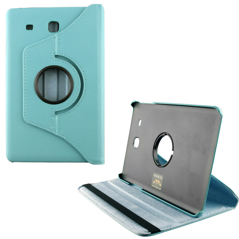 "VOLTE-TEL ΘΗΚΗ SAMSUNG T560/T561 TAB E 9.6"" LEATHER BOOK ROTATING STAND LIGHT BLUE"