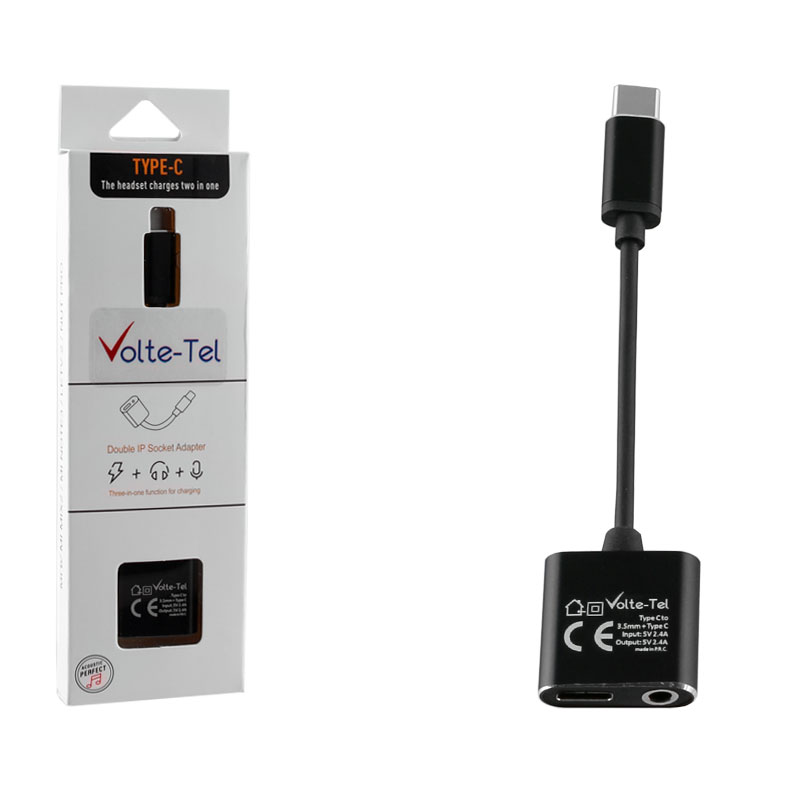 VOLTE-TEL ΜΕΤΑΤΡΟΠΕΑΣ 2 IN 1 ΦΟΡΤΙΣΗΣ ΚΑΙ AUDIO ADAPTER TYPE C TO 3.5MM JACK+TYPE C 2.4A BLACK