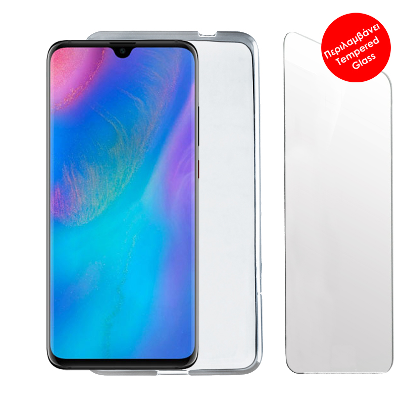 """VOLTE-TEL COMBO HUAWEI P30 6.1"""" TEMPERED 0.30 + ΘΗΚΗ SLIMCOLOR WHITE"""