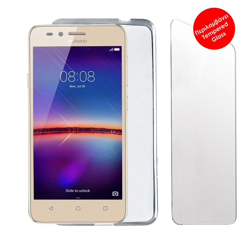"""VOLTE-TEL COMBO HUAWEI Y3 2017/Y3 2018 5.0"""" TEMPERED 0.30 + ΘΗΚΗ SLIMCOLOR WHITE"""