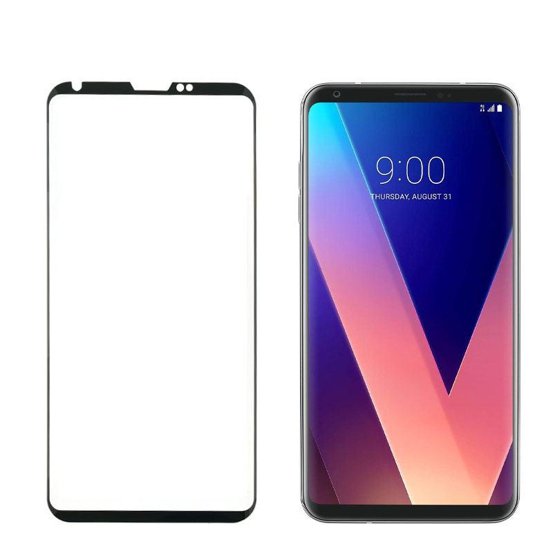 "IDOL 1991 TEMPERED GLASS LG V30 6.0"" 9H 0.30mm 3D SEMI CURVED BLACK OPEN NOTCH"