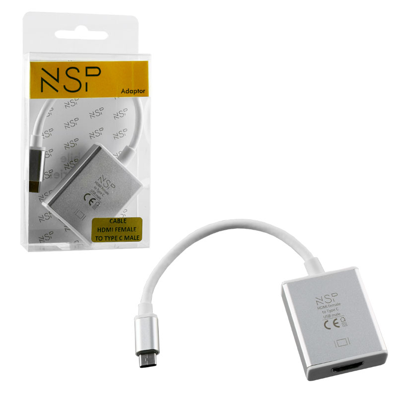 NSP ADAPTER CABLE HDMI 1.4 FEMALE TO TYPE C 3.1 MALE 4K & DEX SILVER