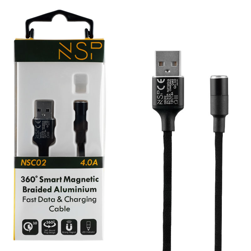 NSP USB ΦΟΡΤΙΣΗΣ-DATA MAGNETIC BRAIDED NSC02 4.0A QC 3.0 1.2m BLACK