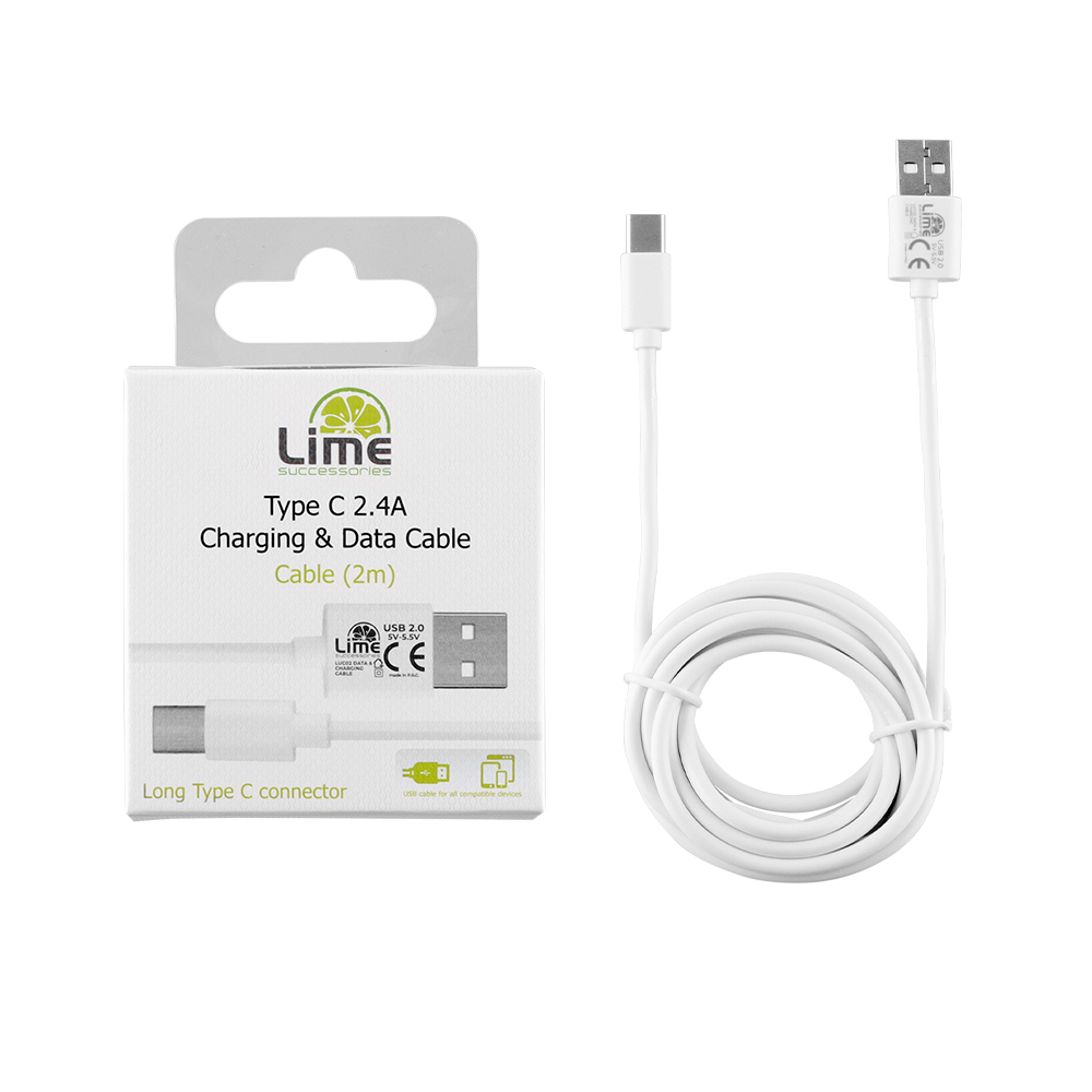 LIME TYPE C LONG USB 2.4A ΦΟΡΤΙΣΗΣ-DATA 2m LUC02 WHITE