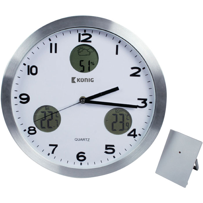 KN-CL 30N WALL CLOCK WITH TEMPERATURE AND OUTSIDE SENSOR