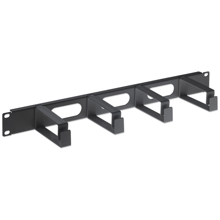 "INT 711074 19"" 1U CABLE MANAGEMENT PANEL, 4 LONG PLASTIC RINGS BLACK"