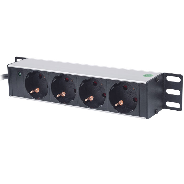"""INT 714020 10"""" POWER STRIP 4 SOCKETS GERMAN TYPE WITH LED INDICATOR BLACK"""
