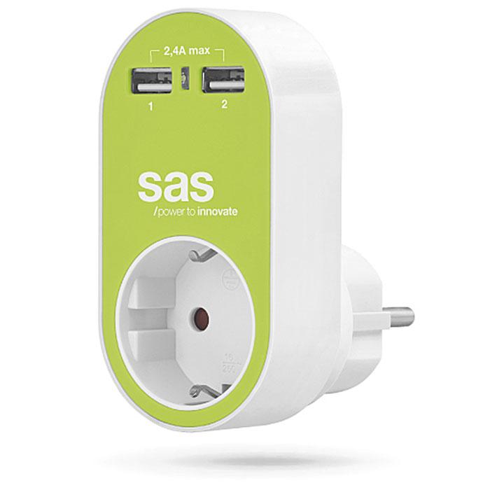 SAS 100-15-129 ΛΑΧΑΝΙ ΑΝΤΑΠΤΟΡΑΣ 1x ΣΟΥΚΟ + 2x USB, 2.4A