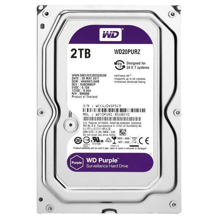 WD PURPLE 2TB 3.5""