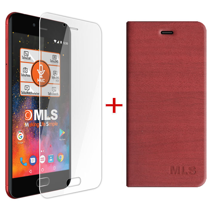 MLS FLIP CASE RED+PROTECTIVE FILM  FOR DX 4G