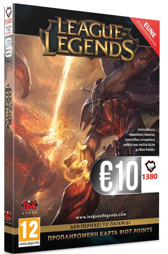 LEAGUE OF LEGENDS CARD 1380 RP - EUNE (Pantheon Cover) - Riot 1.18.99.22.005