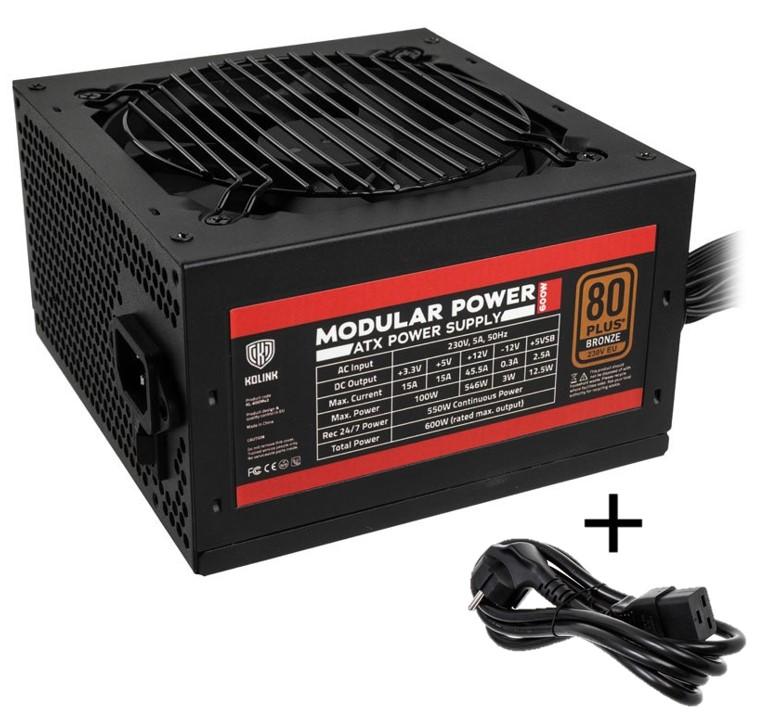 Kolink Modular Power 80 PLUS Bronze PSU 600 Watt PC Power Supply - With Cable - CASEKING 2.35.63.00.029