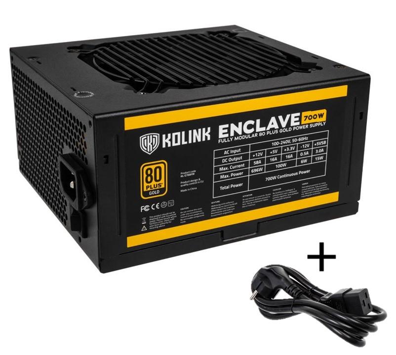 Kolink Enclave 80 PLUS Gold PSU modular 700 Watt PC Power Supply - With Cable - CASEKING 2.35.63.00.032