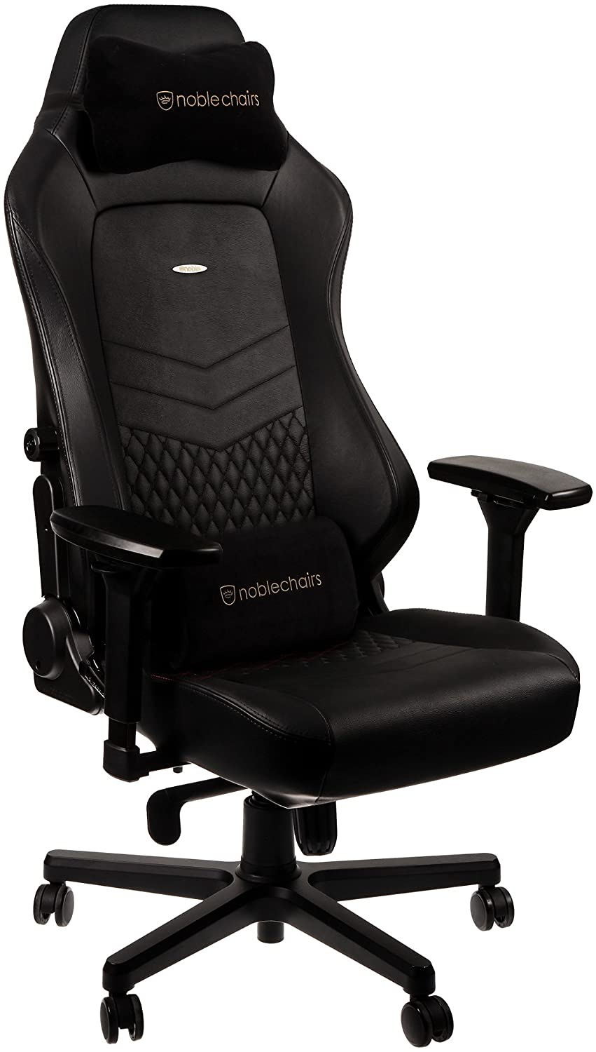 noblechairs HERO Pure Leather Gaming Chair - cold foam, steel armrests,  60mm casters, 150kg - black - CASEKING 2.35.63.01.005