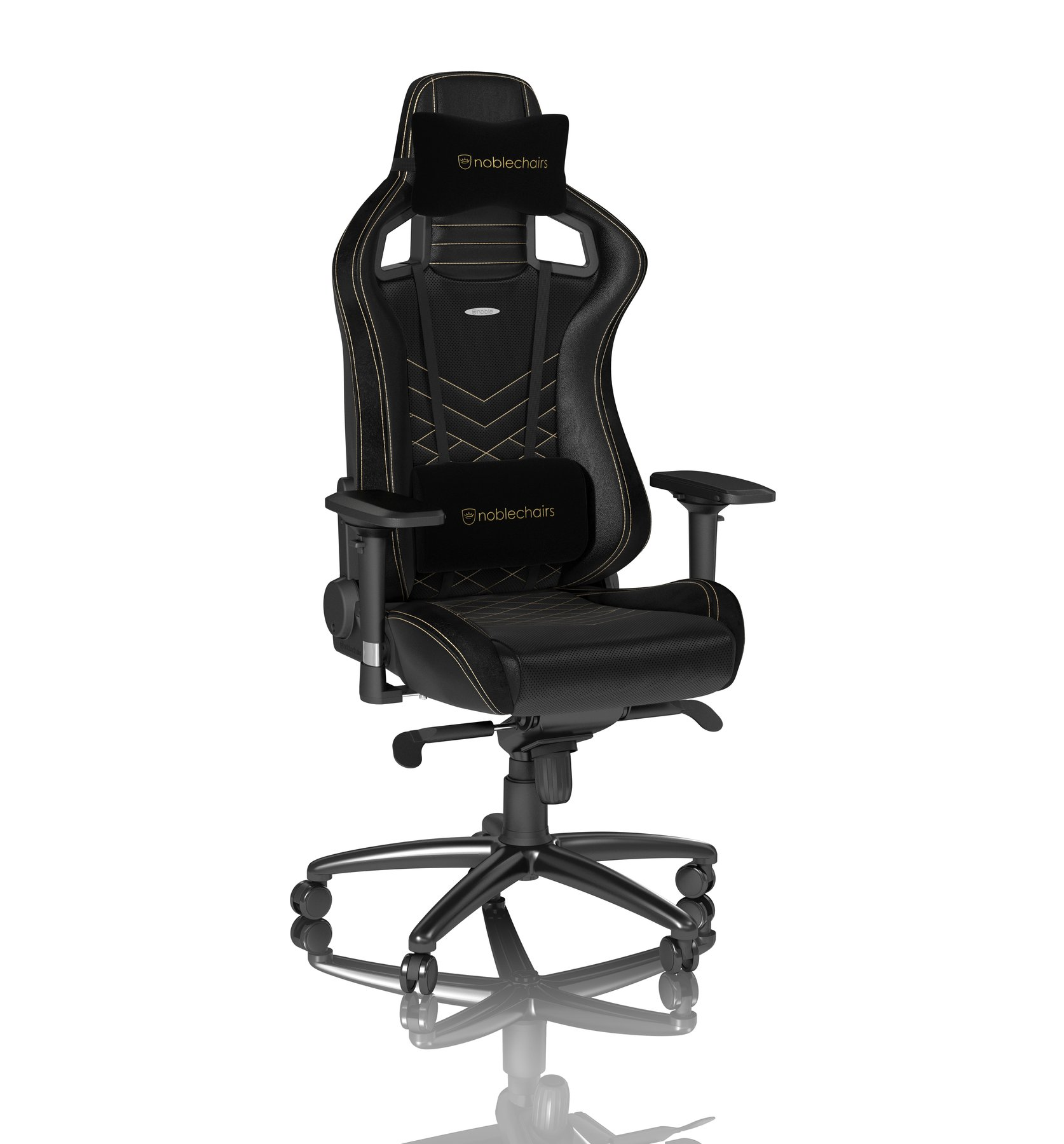 noblechairs EPIC Gaming Chair Breathable, 4D armrests, 60mm casters - black/gold - CASEKING 2.35.63.01.006